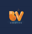 bv letter with origami triangles logo creative vector image vector image