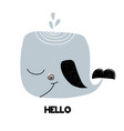 card with lettering hello and whale isolated on vector image vector image