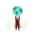 celebrating a businessman holding the world over vector image vector image