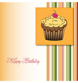 cute happy birthday card with cupcake vector image vector image