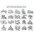 doodle landscape icons vector image vector image