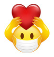 emoticon wearing medical mask holding heart symbol vector image vector image