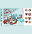 flat firefighting composition vector image vector image