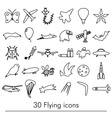 flying theme theme outline symbols and icons set vector image vector image