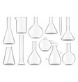 glass test tubes chemistry flasks and beakers set vector image