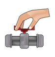 hand with toilet pump vector image