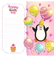 Happy Birthday card background with cute penguin vector image vector image