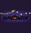 happy halloween greeting card light and flag vector image vector image