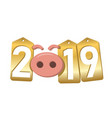 Happy new year background pink pig 3d gold sale