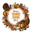 happy thanksgiving day sketch poster vector image vector image