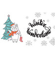 horizontal christmas card unicorn winter vector image