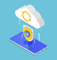 isometric cloud computing upload protecting by vector image vector image