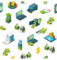 isometric money bank icons background vector image