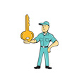 Locksmith Balancing Key Palm Cartoon vector image