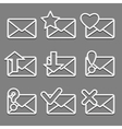 Mail envelope web icons set on dark background vector image vector image