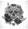 Monochrome Skull diamond and Flowers Card vector image