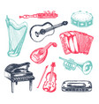 musical instruments - of hand drawn vector image vector image