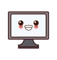 pc screen monitor kawaii cartoon vector image vector image