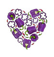 purple on violet bell peper heart shape wreath vector image vector image