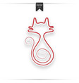 red cat icon isolated on white vector image vector image