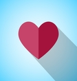 Red heart with long shadow vector image vector image