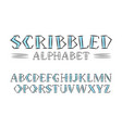 scribbled alphabet handwritten style font vector image vector image