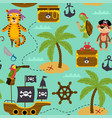 seamless pattern with pirates animals vector image vector image