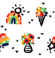 seamless pattern with rainbow ice cream bouquet vector image vector image