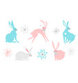 set cute easter cartoon characters rabbits vector image