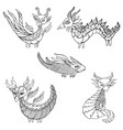set five fantasy dragons coloring page for kids vector image