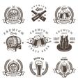 set vintage beer brewery emblems vector image vector image