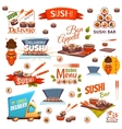 set with sushi banners icons logo and vector image vector image