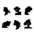 silhouettes womens hairstyles vector image vector image