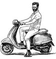 sketch a person on a scooter vector image vector image