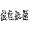 stay home safe in bed set lettering vector image vector image