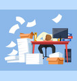 tired businessman paper work office desk piles of vector image