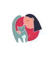trendy cartoon woman holding cat simple vector image