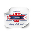 veterans day background on paper banner vector image