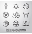 World religion hand drawn symbols set vector image