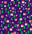 Seamless Pattern with Christmas Night Pines Gift vector image