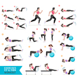 Woman workout fitness aerobic and exercises vector image