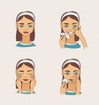 set with lovely cartoon young brunette woman vector image