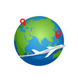 airplane fly around planet earth vector image vector image