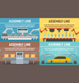 assembly line banner set flat style