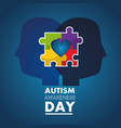autism awareness day profile heads with puzzle vector image