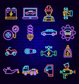 auto repair neon icons vector image