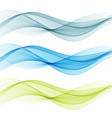 blue and green transparent waves set vector image vector image