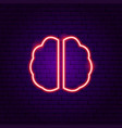 brain neon label vector image