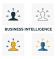 business intelligence icon set four elements in vector image vector image