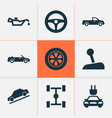 car icons set includes icons such as wheel vector image